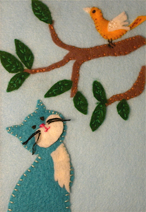 Cat and Bird art